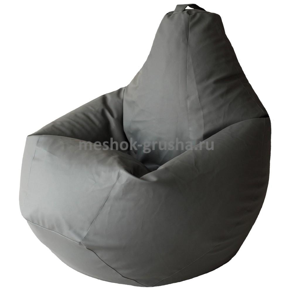 Кресло Мешок Груша Серая Экокожа (L, Классический)